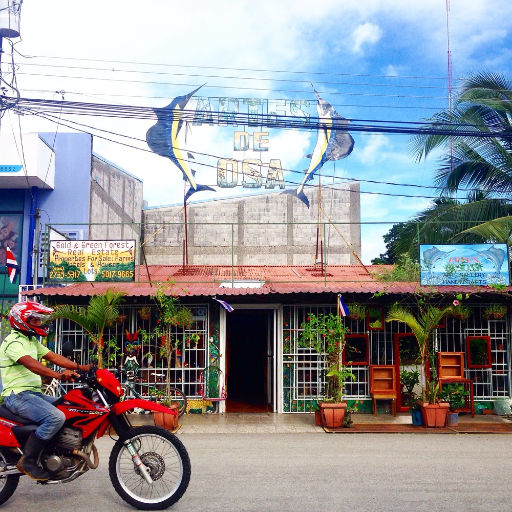 Sometimes I catch a ride into town (Puerto Jimenez) and visit the few local shops there, like this art store.