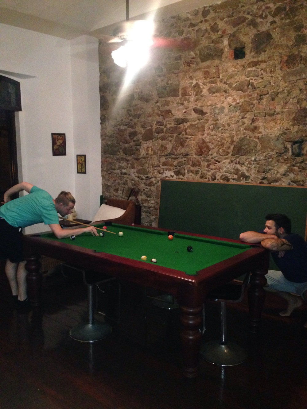 Our airbnb also had a pool table so Alex and Ben had some guy time.