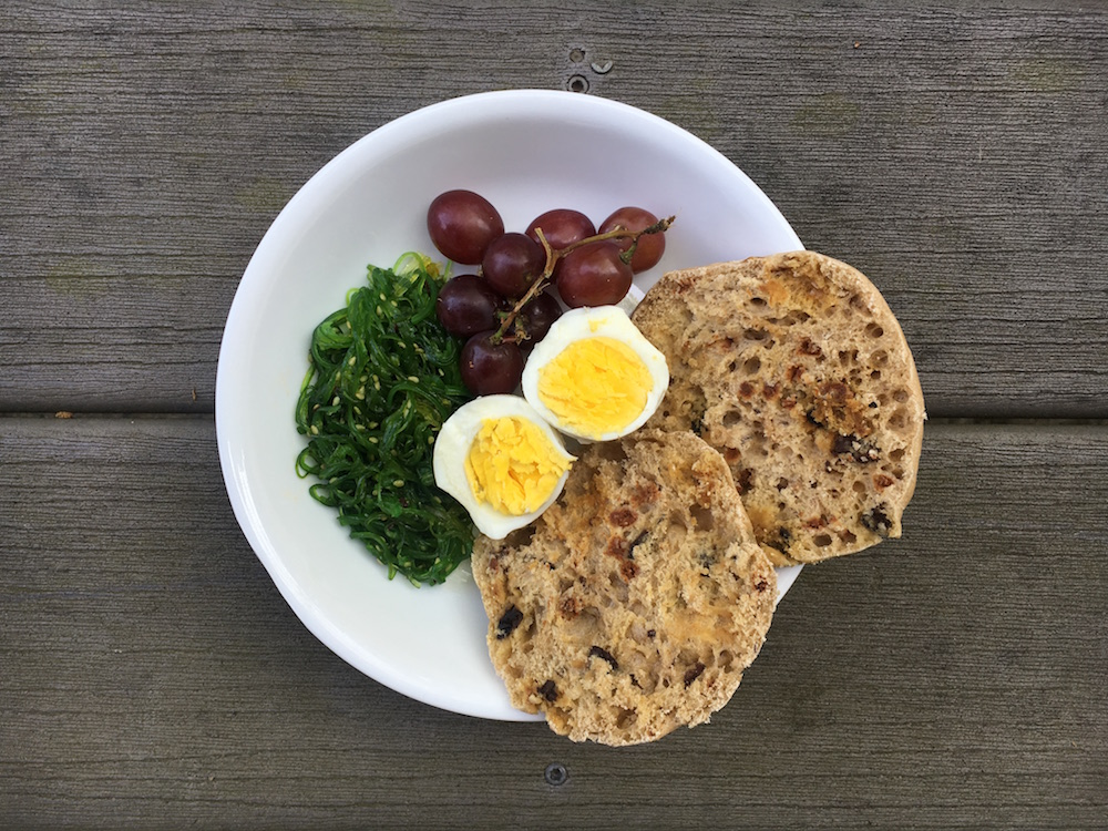 Breakfast: Seaweed salad, grapes, boiled egg, raisin wheat english muffin