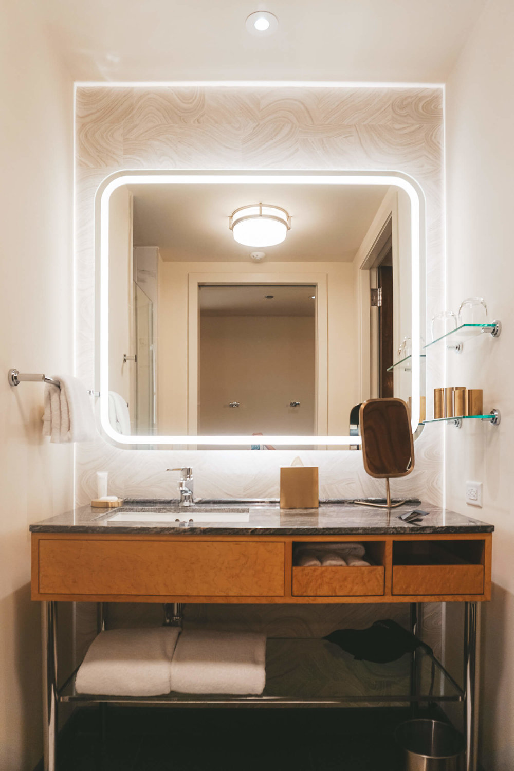 Guest room vanity at Viceroy Chicago
