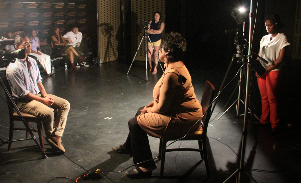 Actor Anna Maria Horsford being interviewed at MIST Harlem by students of the Digital Media Training Program at MIST Harlem (Photo courtesy of the Digital Media Training Program).