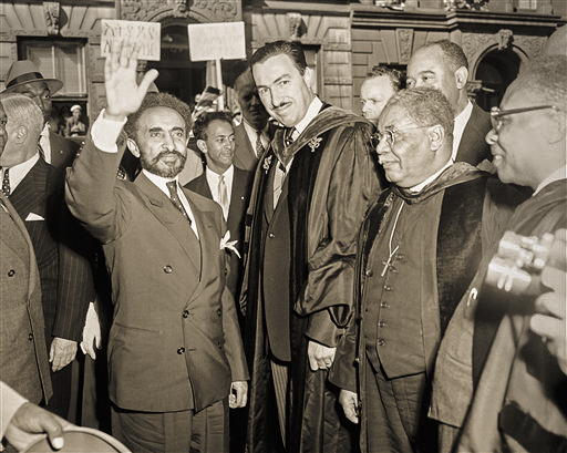 Emperor Haile Salassie I of Ethiopia and the Rev. Adam Clayton Powell, Jr. (Photo courtesy AP Photos).