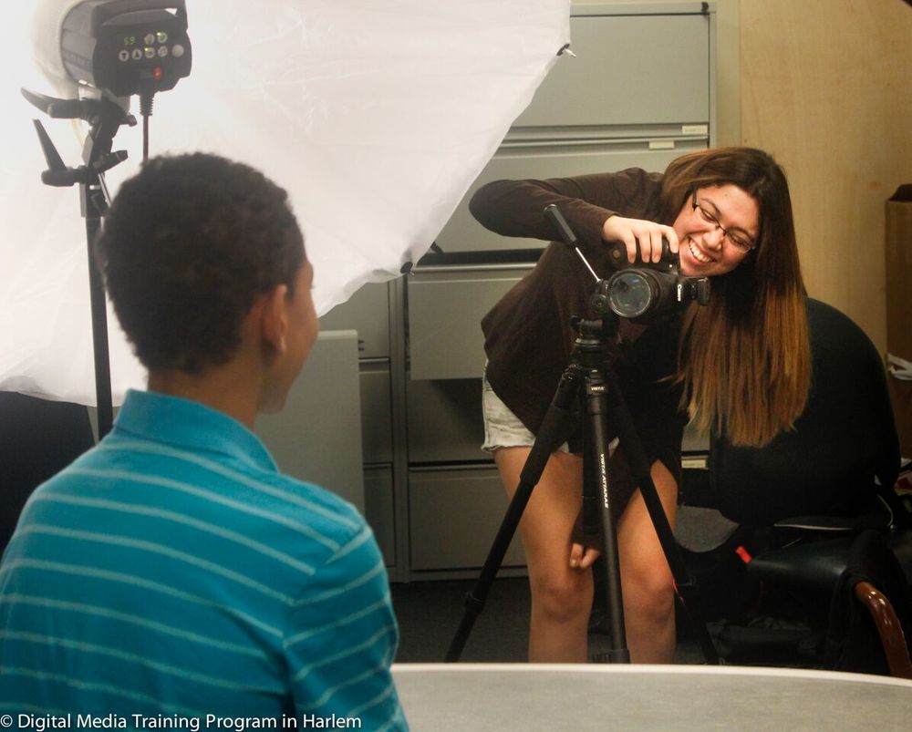 DMTP students photograph portraits with Elinchrome strobe lights at My Image Studios in New York City.