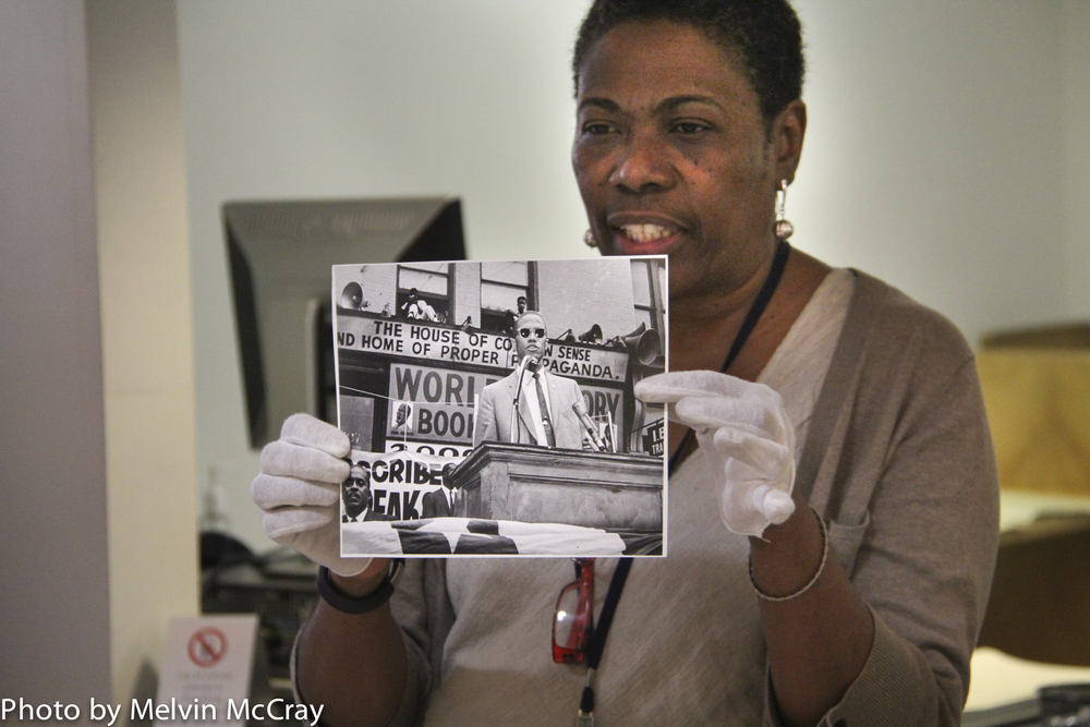 Mary Yearwood holds photo of Malcolm X-98.jpg