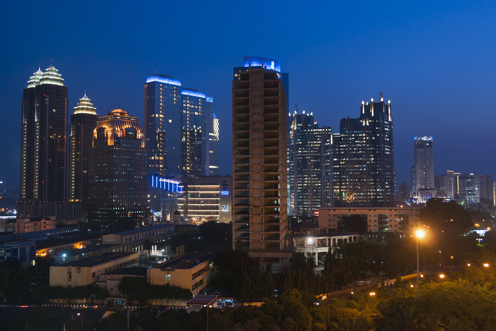 Skyline of the city at dusk  |  Jakarta, Indonesia