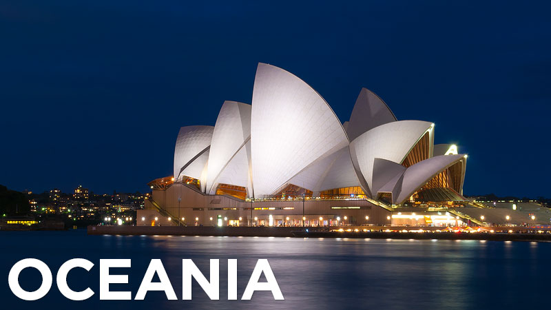 Photos of Oceania – from sophisticated Melbourne and the red expanse of the Australian outback to the rugged beauty of remote Tasmania and the glaciers, rainforests, and volcanic landscapes of New Zealand