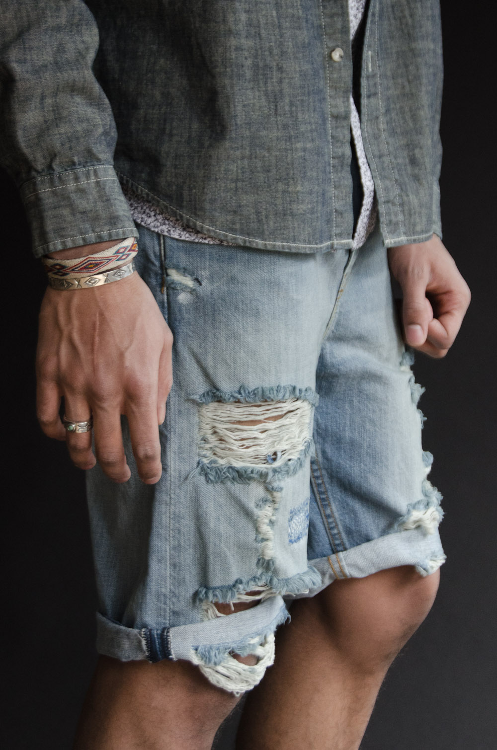 Levi's  508 Regular Tapered Shorts   Miansai  Bracelet  Northworks Cuff & Ring