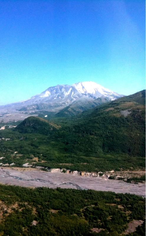 Mount St. Helens, north face, crater, mud flow.