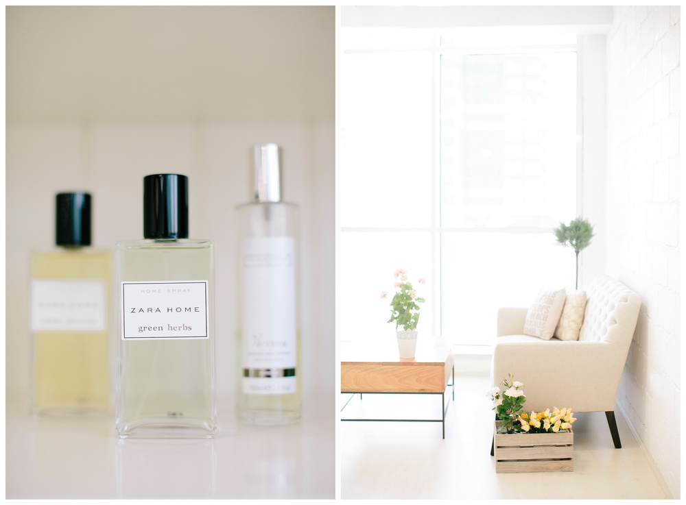 The studio's signature scent adds to the feel at home comfort we offer! We specially love Verveinne home spray from The White Company and Green Herbs and Jasmine home sprays from Zara Homes!