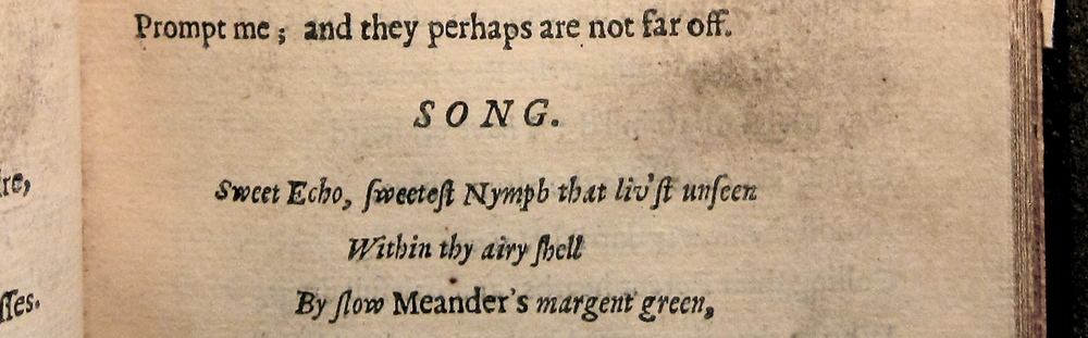 The Masque at Ludlow Castle in Poems (1645), M2160 (Copy 2), Folger Shakespeare Library.