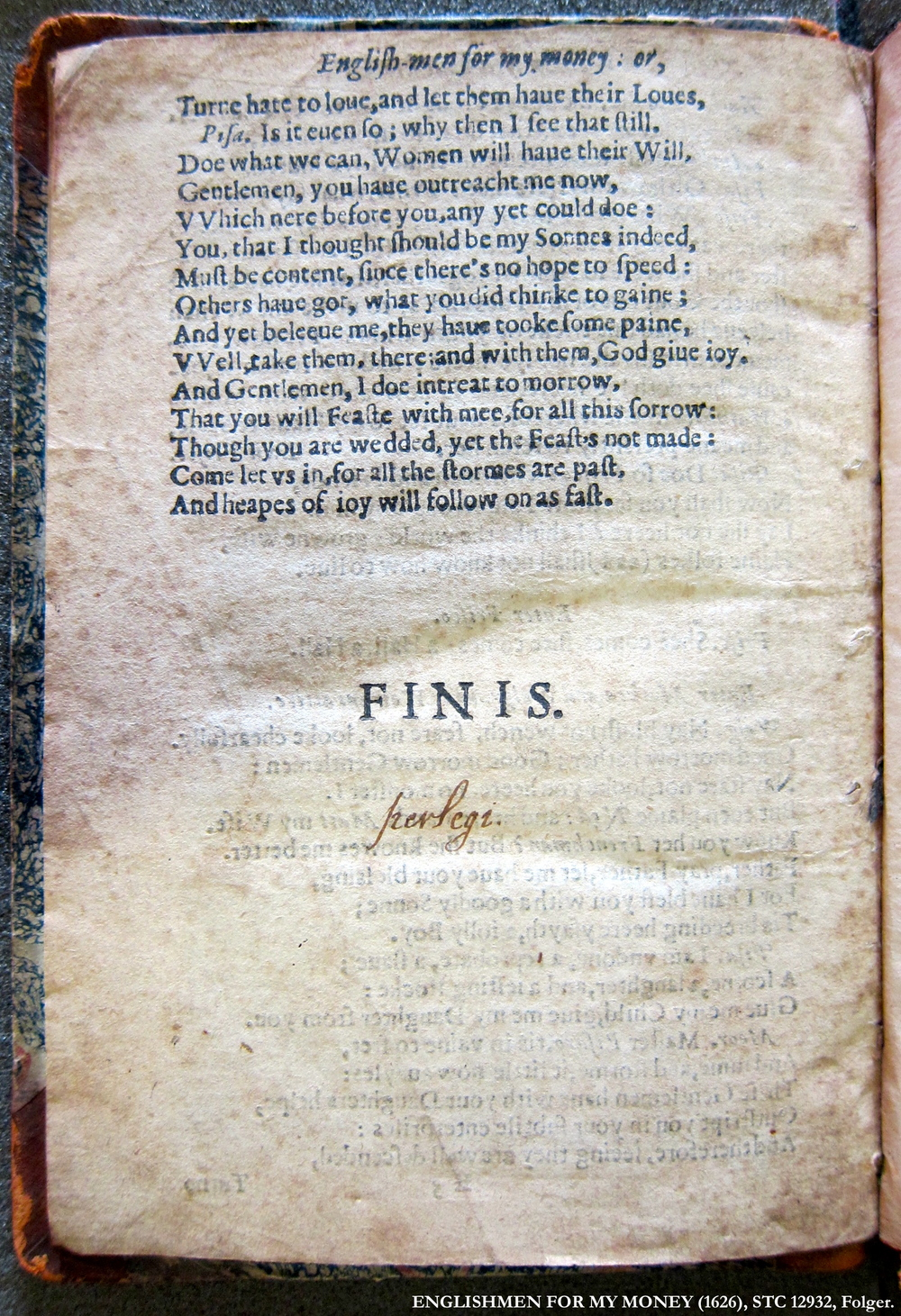 Englishmen for My Money  (1626), STC 12932, Folger.