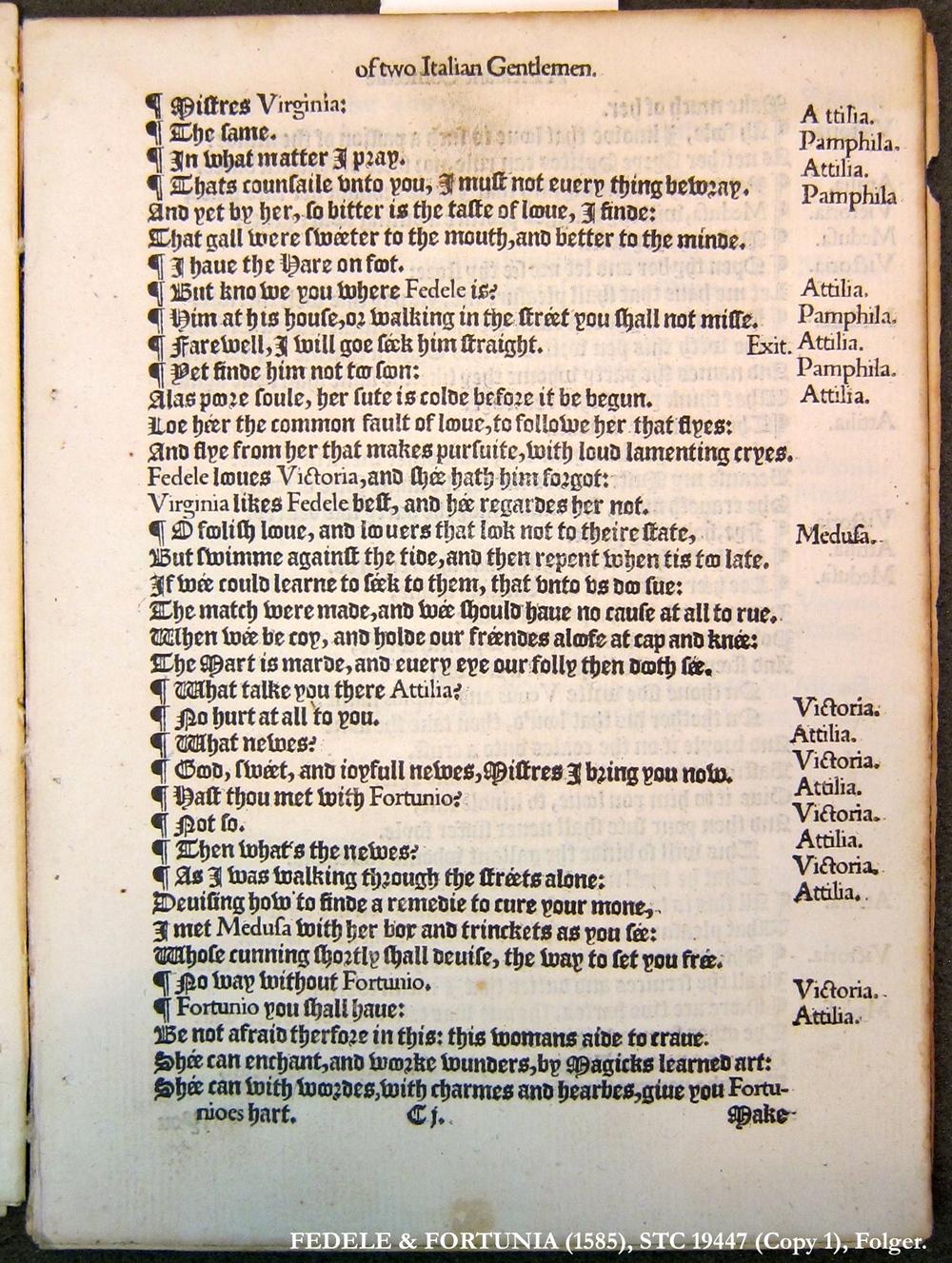 Fedele & Fortunia (1585), STC 19447 (Copy 1), Folger.