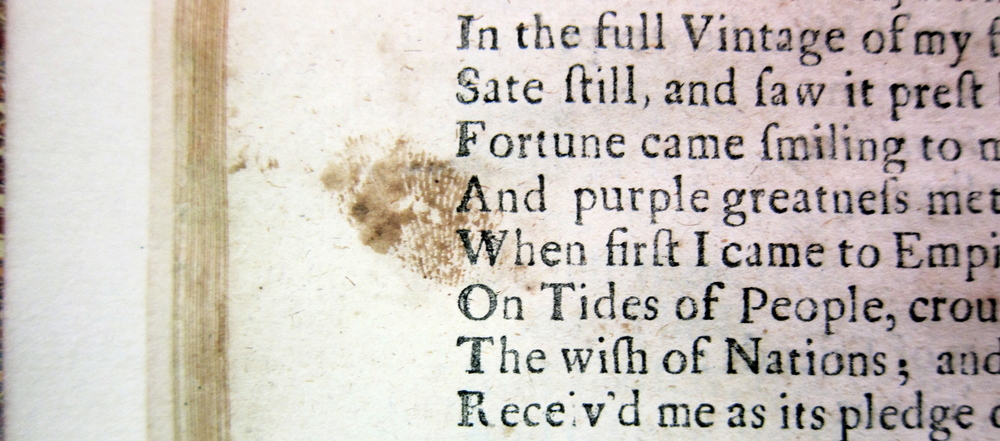 Detail of John Dryden, ALL FOR LOVE (1678), D2229 (Copy 4), Folger Shakespeare Library.