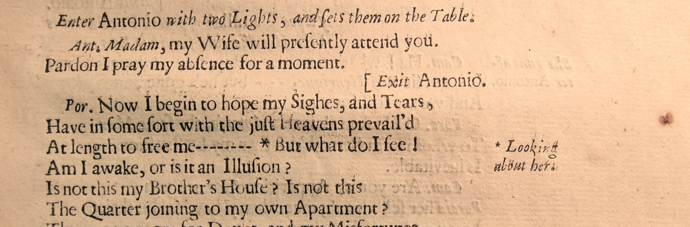A set of asterisks in  The Adventure of Five Hours  (London: Henry Herringman, 1663), T3229, Folger Shakespeare Library