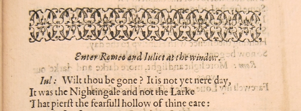 Detail of  Romeo & Juliet  (1597), STC 22322, Folger Shakespeare Library