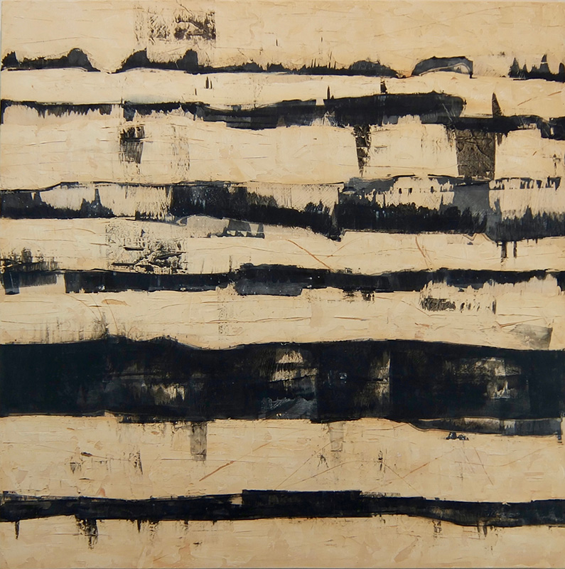 "Sedimentum , acrylic & sumi ink on panel, 2017, 42""w x 42""h -  SOLD"