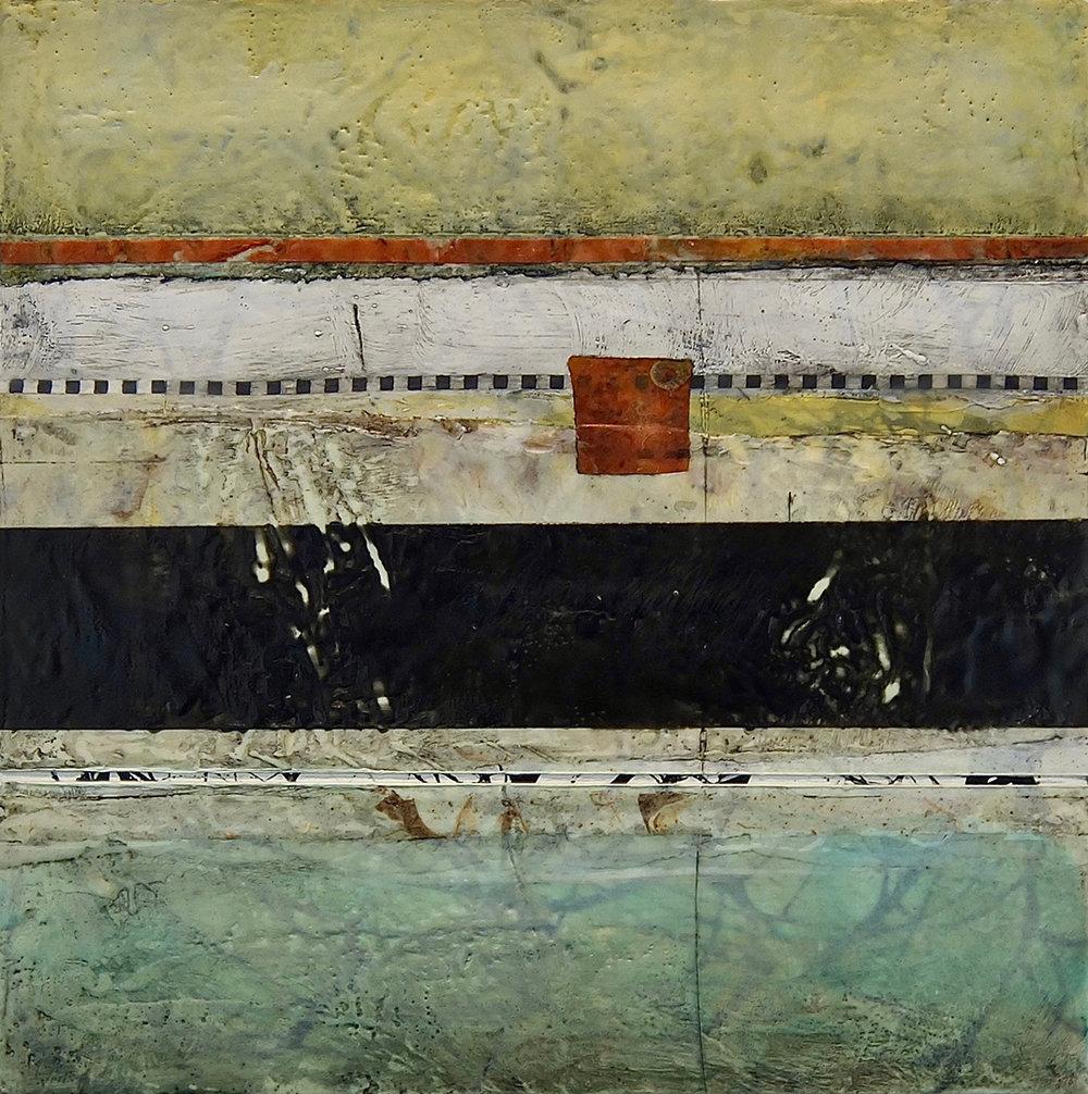 "Stratum 29 , encaustic on panel,  2017, 16""w x 16""h"