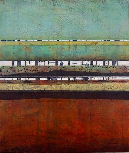 "Stratum 33 , encaustic on panel,  2017, 27""w x 32""h -  SOLD"