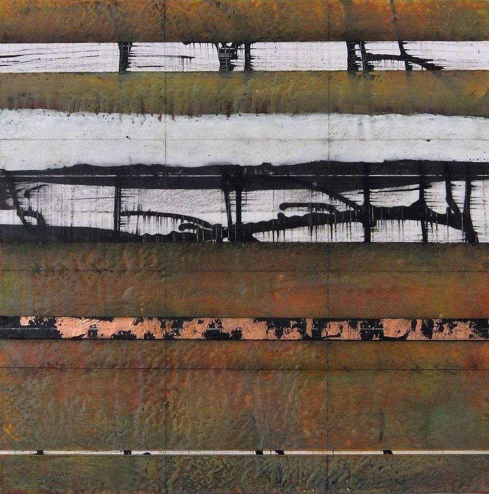 "Stratum 2x , encaustic on panel,  2017, 16""w x 16""h"