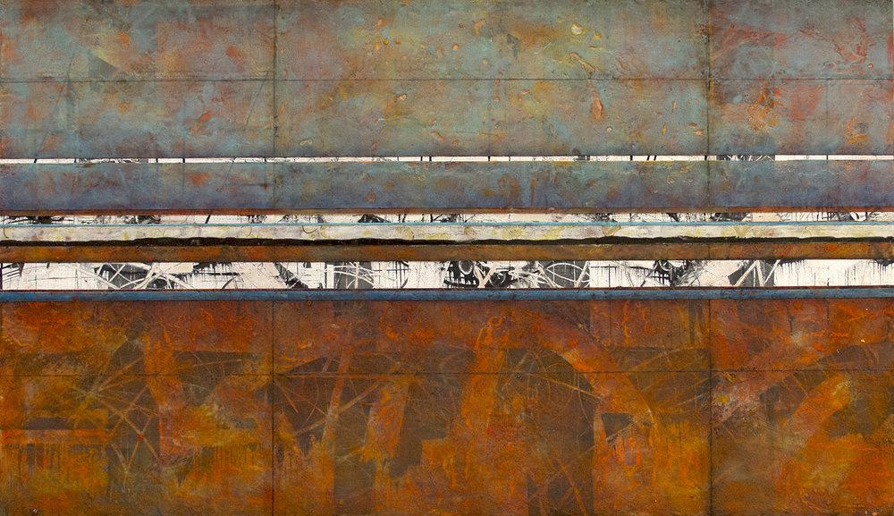 "Stratum 21 , encaustic on panel, 2016, 50""w x 29""h"