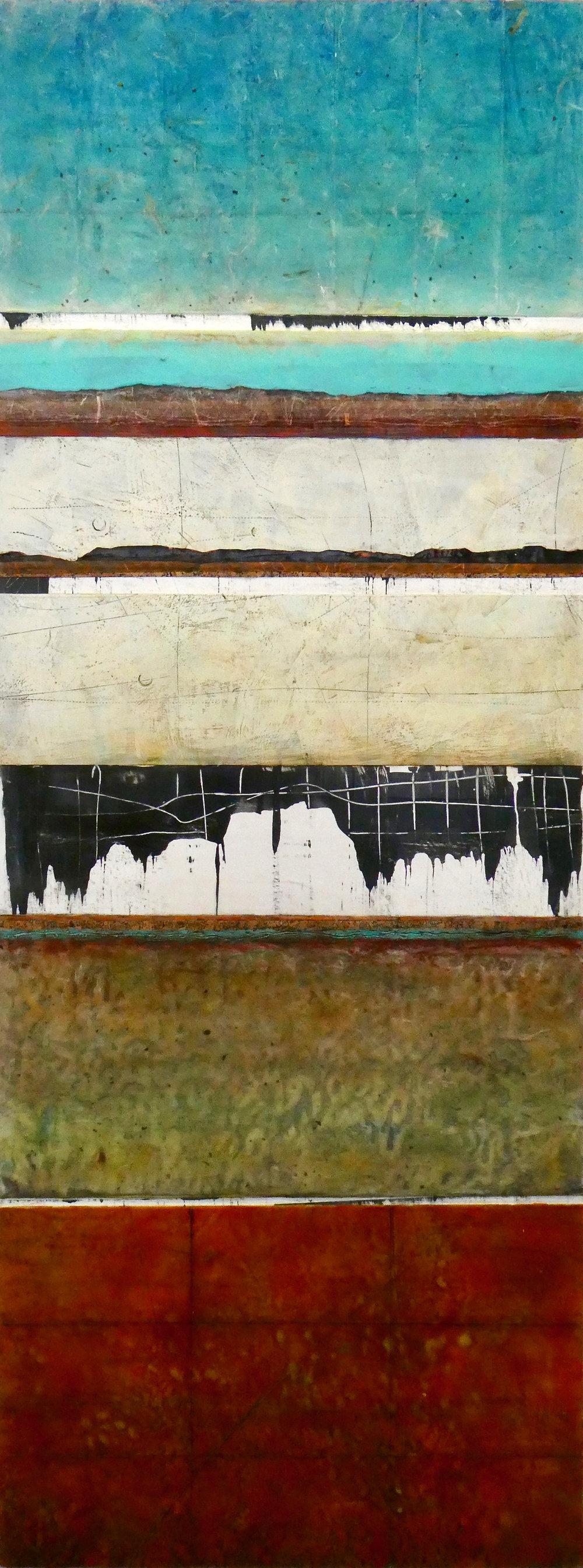 "Dualities , encaustic, 2018,   18""w x 48""h"