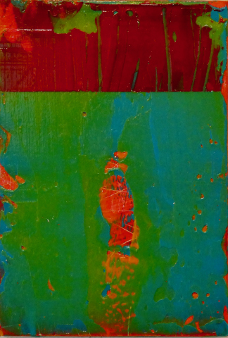 "Throb , 2019, acrylic on panel, 6""w x 9""h"