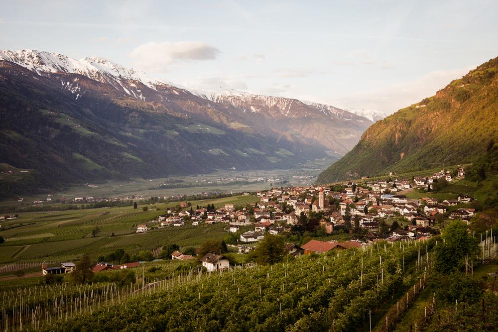 Aussicht vom Hotelbalkon ins Vinschgau