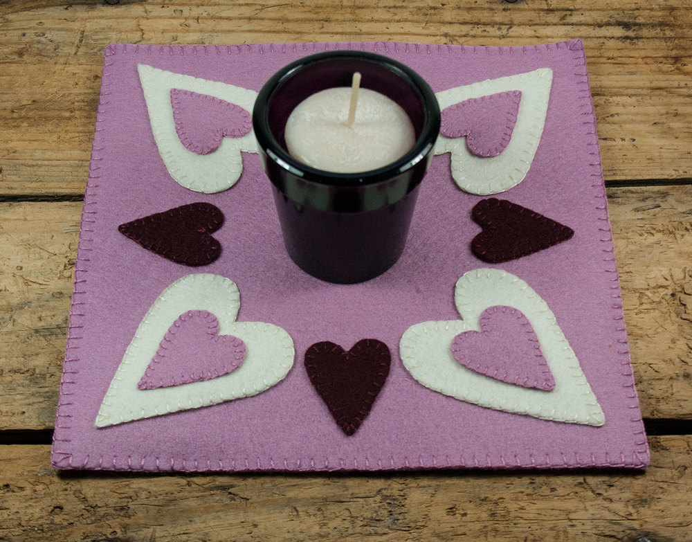 Heart Candlemat Displayed