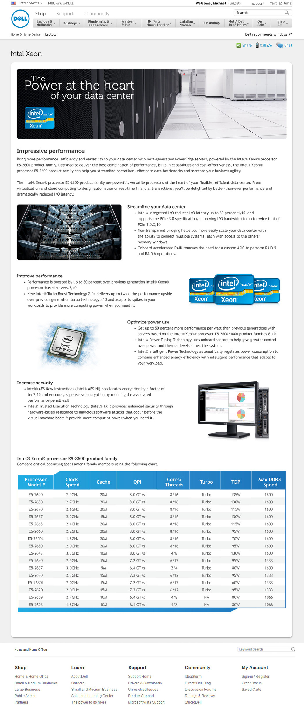 Intel landing page