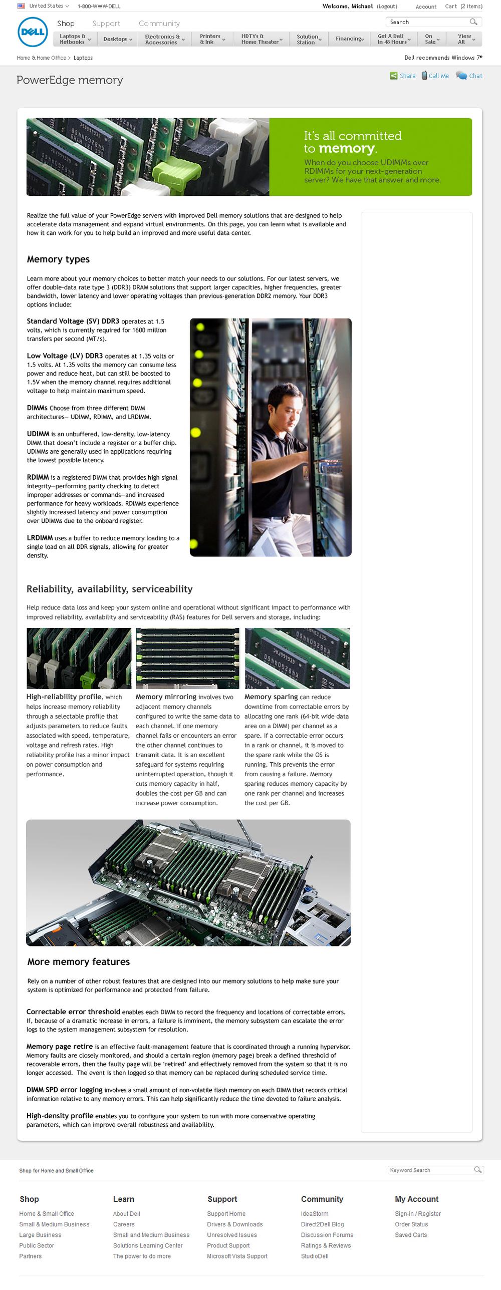server memory landing page