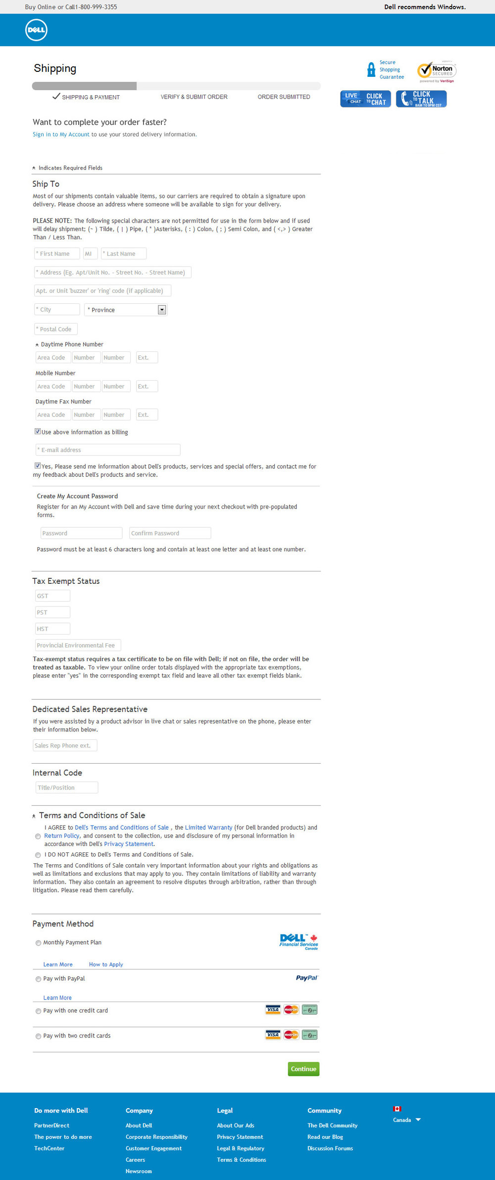Product page (before) : Copy heavy, excessive forms fields (29), confusing payment options