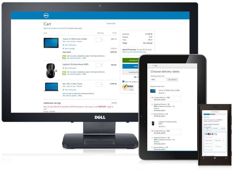 Dell.comCart & Checkout - Responsive redesign, simplified payment and delivery promise