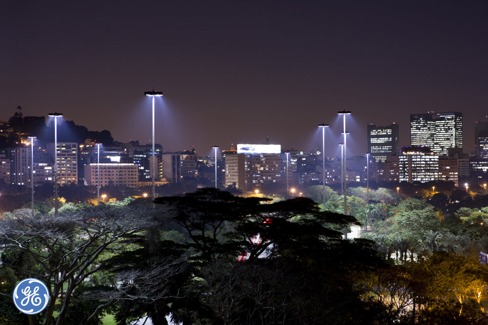 Series of photographs for GE showing the new lighting system in Rio de Janeiro.
