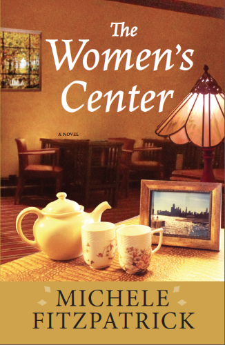 Book cover design for The Women's Center, a novel by Michele Fitzpatrick about four women who reunite 35 years after they were students at Shorelake College for Women to transform an aging Chicago mansion into a 21st century women's center. Published by Amika Press, available soon on Amazon, Barnes & Noble, Kindle, iBook, Nook, Kobo, and Amikapress.com.