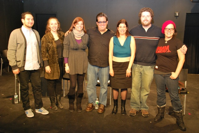 """Panelists from our discussion, """"How to Create Theater for Social Change"""": (left to right) Zac Kline (Co-Editor of 24 GUN CONTROL PLAYS), Dana Greenfield (Creator/Director, THE SANDY HOOK THEATRE PROJECT), Megan Donovan (Artistic Director, Playground Theatre Project), Ralph Colombino (Co-Director, BANG BANG YOU'RE DEAD), Adina Taubman (moderator), Dan Cooley (Co-Director, BANG BANG YOU'RE DEAD), Ashley Marinaccio (Artistic Director, Girl Be Heard)"""