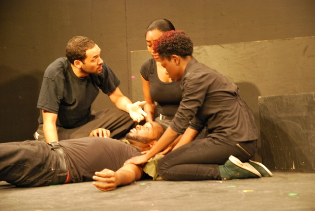 Eden Marryshow, Sheree Campbell, Sadah Proctor, and Philip Burke in Excerpt from THE NATURE OF CAPTIVITY by Matthew Paul Olmos