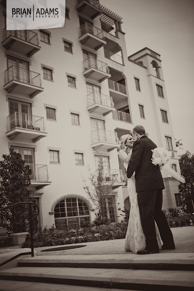 Bride and groom first look at the Alfond Inn, beaded wedding dress, black and white wedding photo by Orlando Florida wedding photographer Brian Adams PhotoGraphics,  brianadamsphoto.com