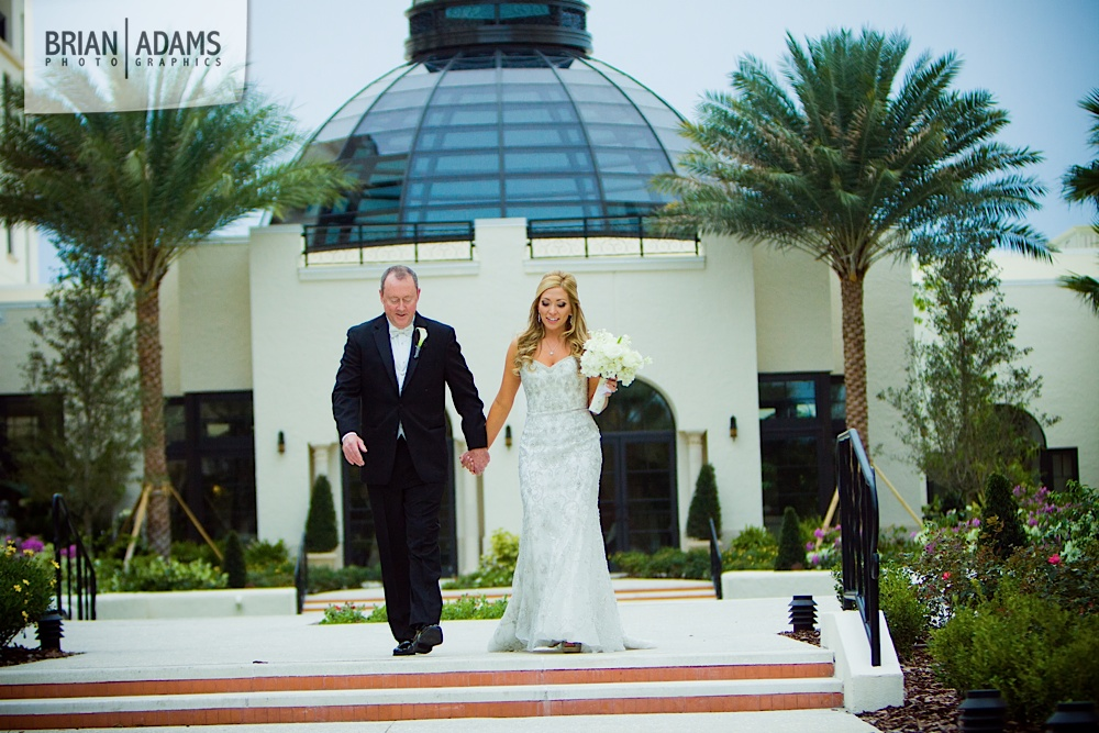 Bride and groom first look at the Alfond Inn, beaded wedding dress, photo by Orlando Florida wedding photographer Brian Adams PhotoGraphics,  brianadamsphoto.com