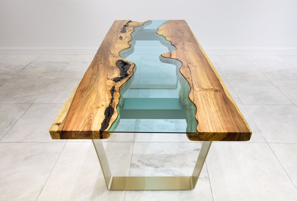 CUSTOM RIVER TABLES MADE IN COLLABORATION WITH HAWAIIAN WOOD MAKER ALLAN GILDENER. INQURE FOR DETAILS AND PRICING.