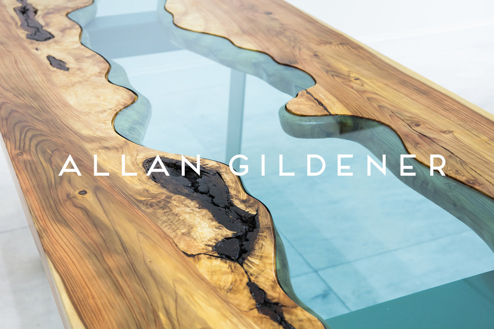 Allan Gildener,  River Table , Sugi Pine and Tempered Glass