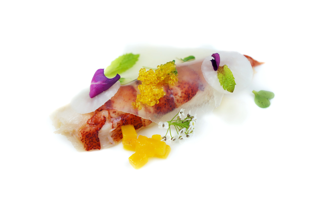 LOBSTER SPRING ROLL   house-made vanilla rice paper - compressed mangoes - yuzu tobiko