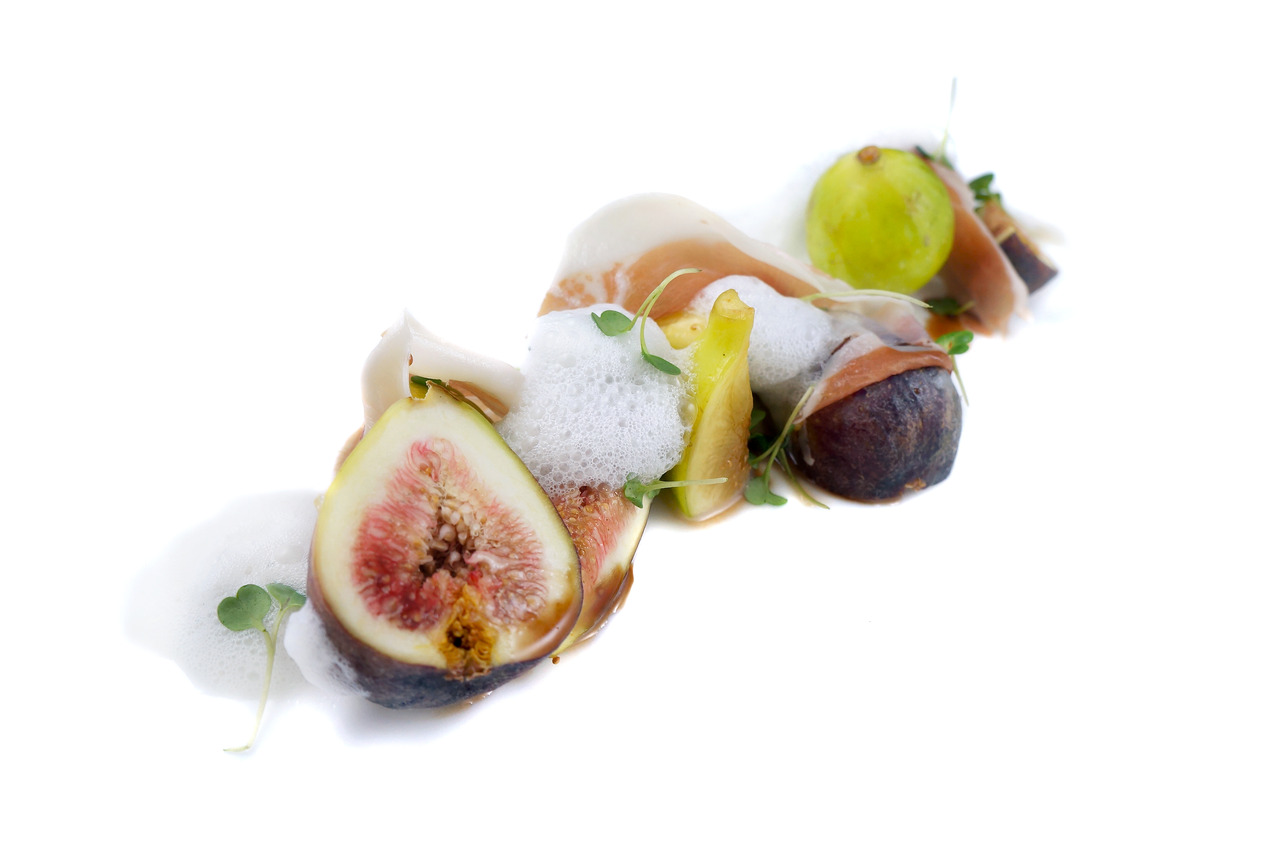 FIG & JAMON SALAD   pt. reyes blue cheese foam - saba balsamic    From Sous Chef Cecile Macasero.