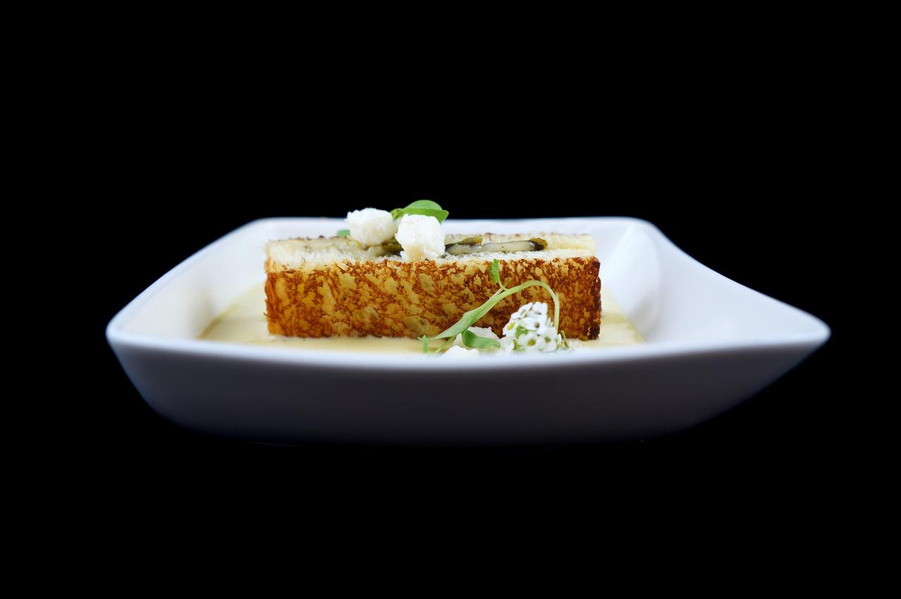 GRILLED QUESO OAXACA & POBLANO SANDWICH   brentwood corn bisque - queso fresco - micro cilantro   From Sous Chef Cecile Macasero.