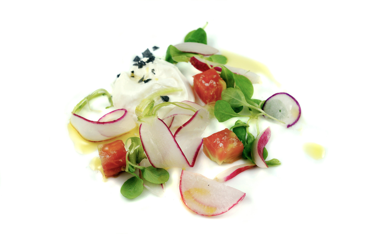 BURRATA ALLA PANNA   heirloom tomatoes - mache - radishes   From Sous Chef Cecile Macasero.