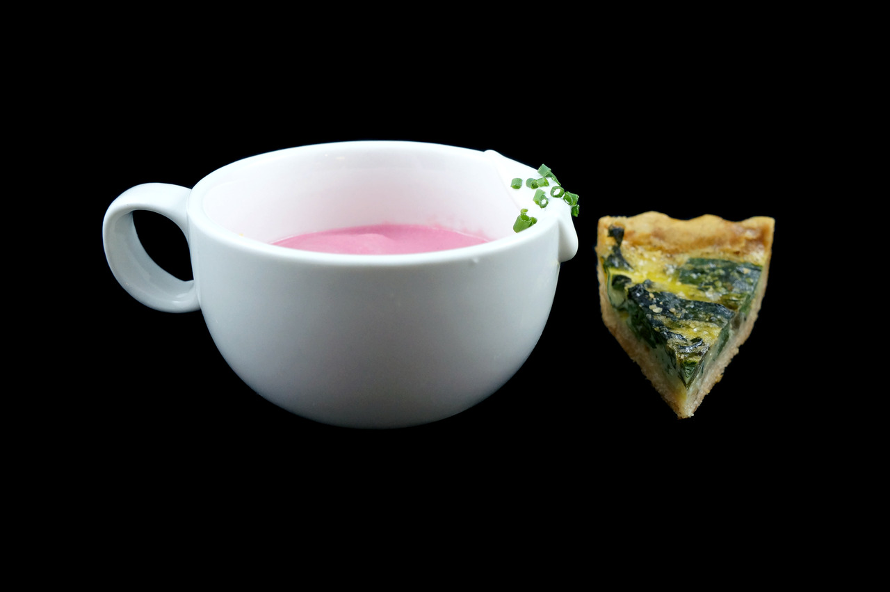 GINGERED BEET SOUP quiche of beet greens - creme fraiche - chives From Sous Chef Cecile Macasero.