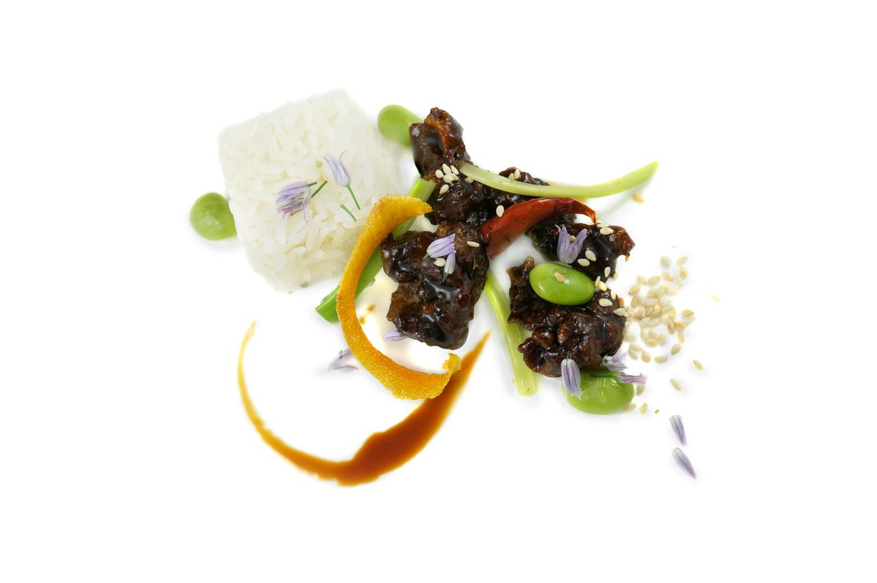 ORANGE PEEL BEEF   edamame - sweet tamari sauce