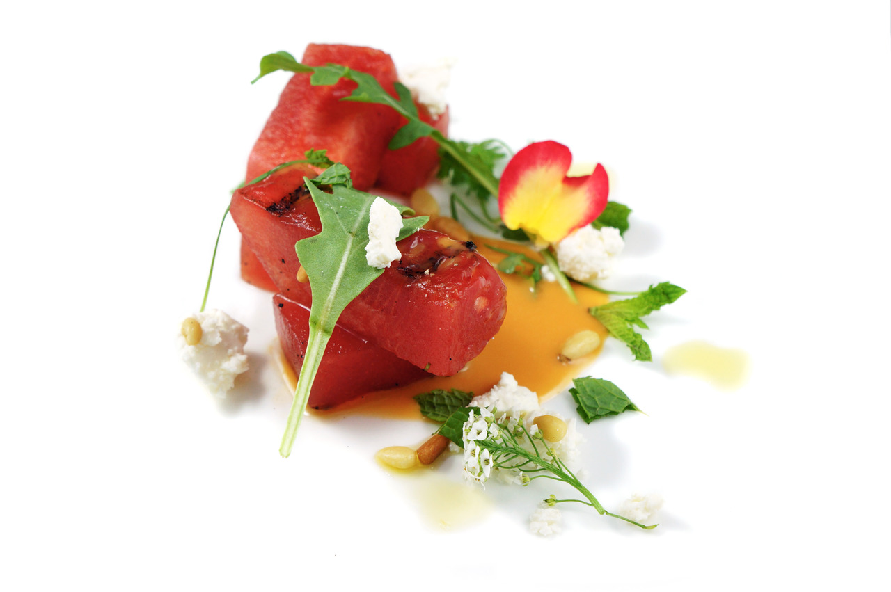 GRILLED WATERMELON & FETA  tomato puree - mint - toasted pine nuts
