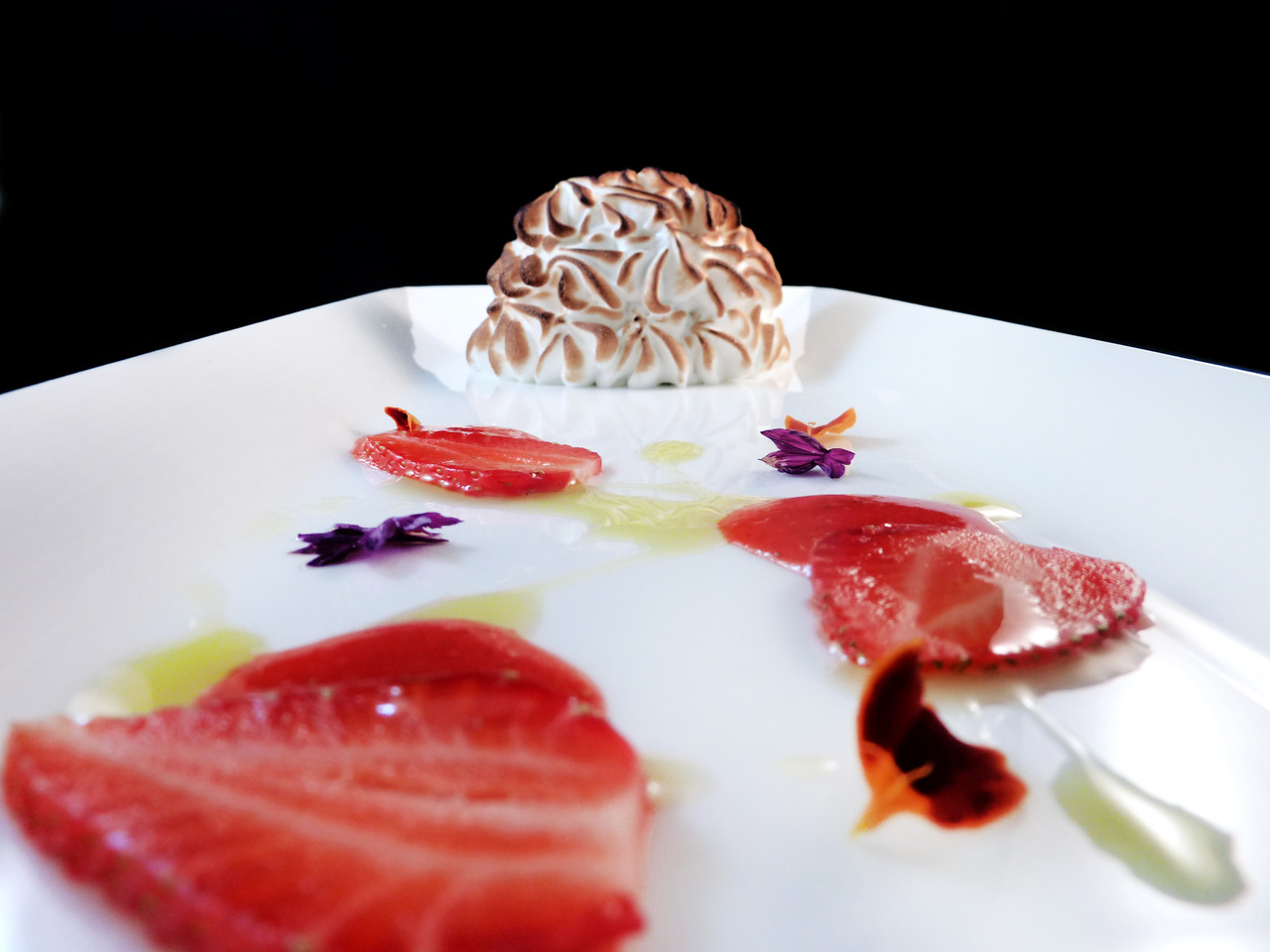 BAKED CALIFORNIA   avocado sherbet - olive oil chiffon - strawberries    Our pastry chef's take on a Baked Alaska.