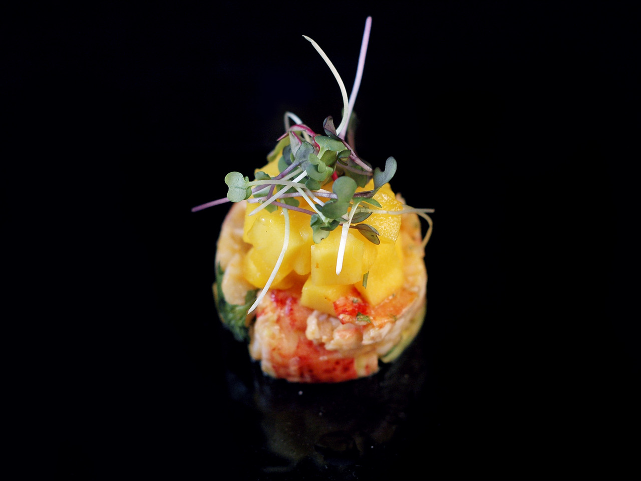 LOBSTER & DRAGON FRUIT SALAD   mangoes - avocadoes - microgreens