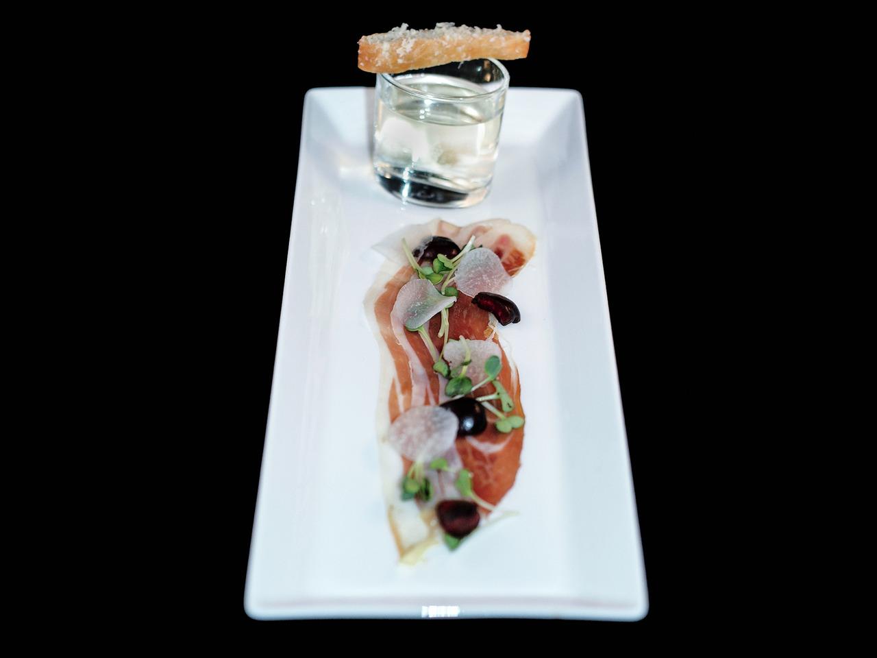 BOTTEGA'S PROSCUITTO & PROSECCO   prosecco - daikon radish - fried foccacia    Our take on Michael Chiarello's classic dish.
